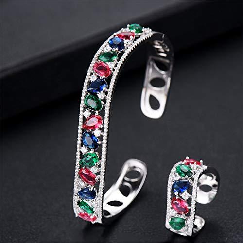 ZIRCOSHNY - Conjunto de joyas de primavera para mujer, circonita, cristal Qatar, anillo multirresistente