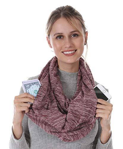 Travel 2 Hidded Zipper Pocket Infinity Scarf - Women Men Girl Travel Lightweight Convertible Hidded...