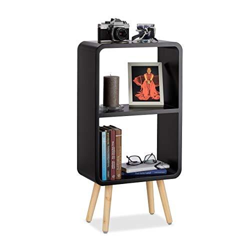 Relaxdays Standregal mit 2 Fächern, schmales MDF Bücherregal ohne Schubladen, Wohnzimmer Regal mit Holzbeinen, schwarz