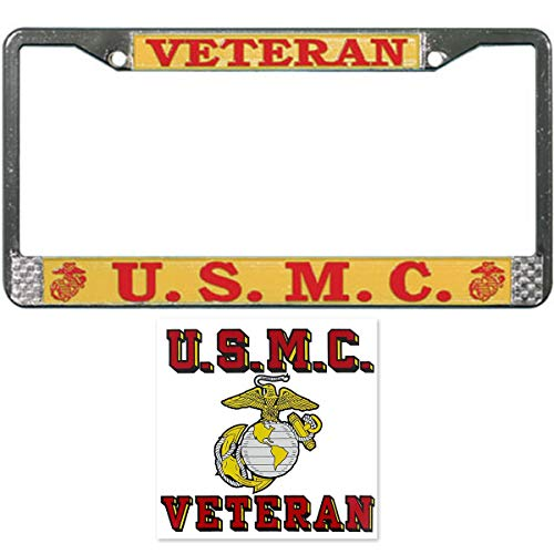 USMC Veteran License Plate Frame Military Gift Bundle with USMC Veteran Decal