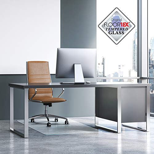 """Floortex Glaciermat, Reinforced Glass Executive Chair Mat for Hard Floors and All Pile Carpets, 40"""" x 53"""""""