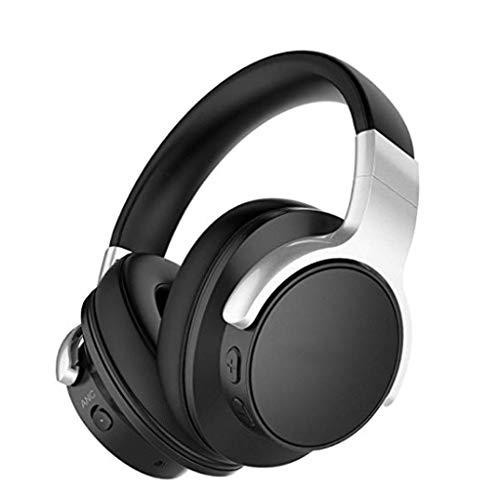 HUANGDA E9 Casque antibruit Actif Bluetooth avec Microphone Casque stéréo Hi-FI Casque Casque sans Fil Basse Profondeur, Protège-Oreille Protéine Confort pour PC/Mobile / TV - Noir