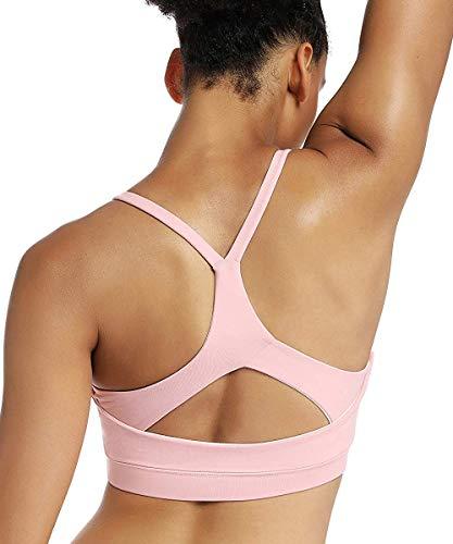 Yaavii Sport BH Starker Halt Gepolstert Push Up Frauen Bustier Atmungsaktiv Bra Top ohne Bügel für Yoga Fitness-Training (M, Rosa)