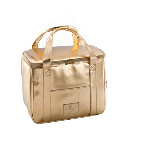 BeCool City Borsa Termica Elegante Oro 33 x 19 x 27 cm - Borsa Shopping Aspetto Fresco ed Elegante con Manici Ergonomici