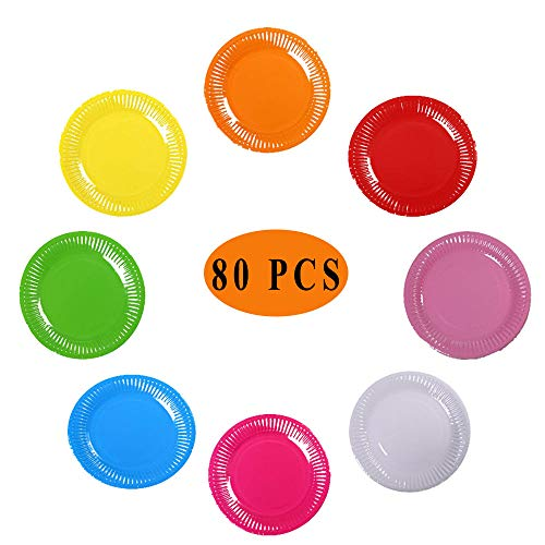 80 Stück Bunte Pappteller, Einweg Bunte Pappteller, 8 Farben Runde Einweg Pappteller Für Geburtstag, Party, Hochzeit, DIY Handmade