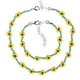 Collares para mujer vintage étnico amarillo flor grano collar collar pulsera conjunto