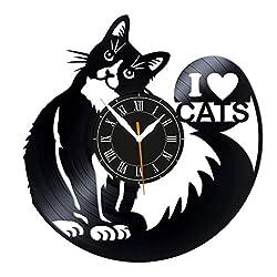 Leooolukkin Cats Vinyl Clock, I Love Cats Wall Clock 12, Original Gifts for Fans Cats, The Best Home Decorations