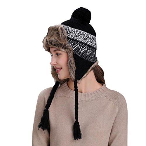 QinMM Sombrero Grueso De Lana De Mujer con Orejeras, Gorro De Gorra De Esquí CáLido Invierno Nieve Hat
