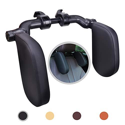 Rajvia Kopfstütze Auto, Leder verstellbare Kopf Hals Unterstützung, für Reisen und lange Reisen Schlafen, U-förmige Auto-Sicherheitskissen für Kinder und Erwachsene (Schwarz)