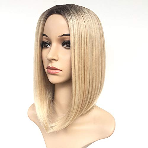 "Women's Short Blonde Wig 14"" Blonde Color Bob Wig Ombre Synthetic Full Hair Wig Heat Resistant Straight Short Blonde Wig for Black/White Women"