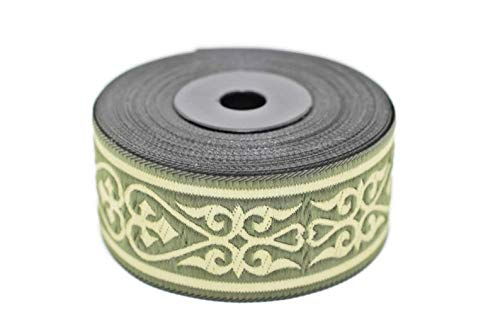 11 Yard Spool 1.37 inches Wide Green Royal Celtic Heart Jacquard Ribbons Heart Embroidered Ribbons Jacquard Trim Ribbon Trim Sewing Trims