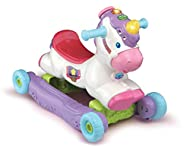 BABY RIDE ON UNICORN: This cute unicorn toy is the ideal baby toy to help support your child as they make their first steps, encouraging mobility and discovery BABY DEVELOPMENT: The Rock and Ride Unicorn can be used as a rocking toy and ride-on to en...