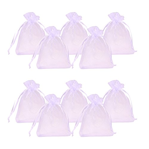 PandaHall - 100pcs Sachets Pochettes Cadeau en Organza avec Rubans pour Bijoux, Rectangle, Blanche, Environ 9x12cm
