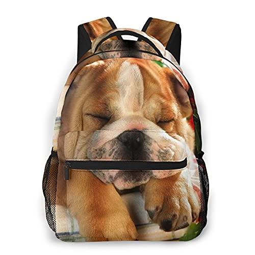 COVASA Mochila escolar de estilo informal Mochila de viaje,Bulldog inglés Cachorro de perro,Mochila grande y liviana para estudiantes,niños y adultos,para computadora portátil de 15.6