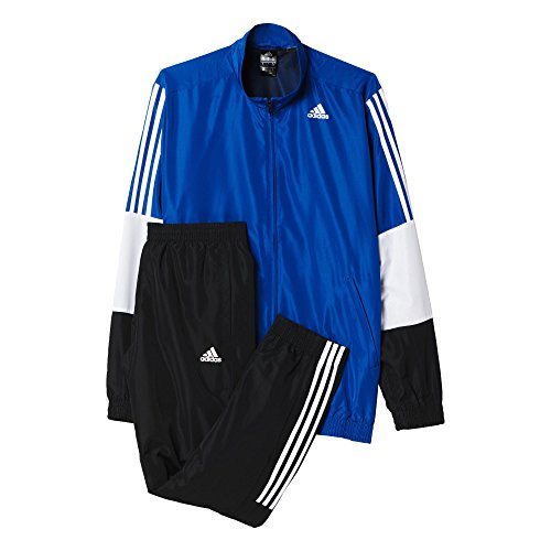Adidas TS Iconic WV Survêtement Homme, Noir/Blanc/Bleu, FR : S (Taille Fabricant : 162)