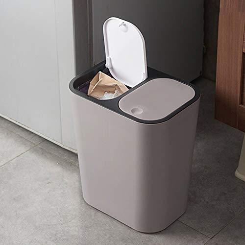 Yiwann Cubo de reciclaje doble, 2-1 cubo de reciclaje con tapa, cubo de basura para baño, cocina, cubo de basura clasificado seco y húmedo de dos clases