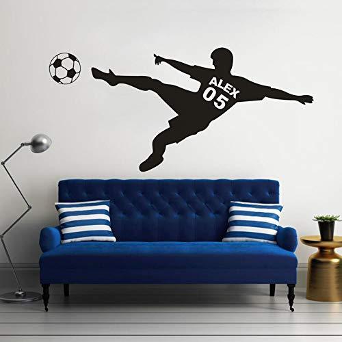 wopiaol Benutzerdefinierte Fußball Junge Name Wandaufkleber Fußball Palyers Vinyl Wandtattoos Fußball Sport Club Dekoration Home Art