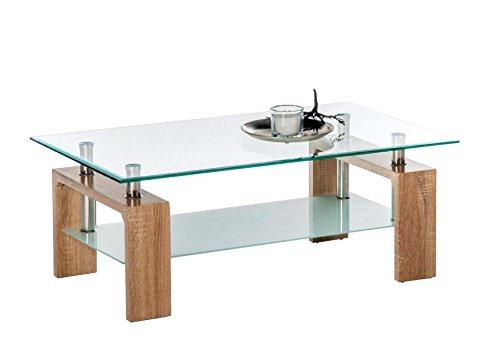 AVANTI TRENDSTORE - Culeo - Tavolino da Soggiorno con Superficie in Vetro Trasparente e 1 ripiano in Vetro Satinato. Dimensioni: Lap 100x46x60 cm (Quercia Sonoma)