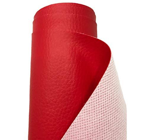 A-Express Tela de Grano de Cuero de Imitación Material Texturizado por Polipiel Vinilo Cojines Bolso - Rojo Medio Metro 50cm x 140cm