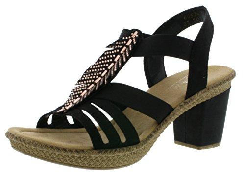 Rieker 66526 Damen Sandalen, Sandaletten, Sommerschuhe schwarz (schwarz / 00), EU 39