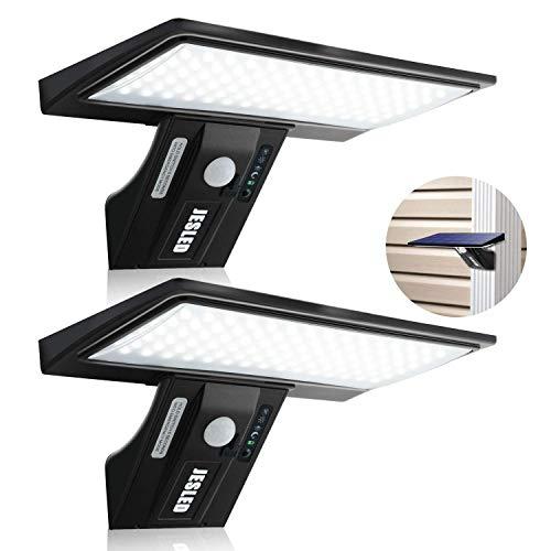 Luz Solar Exterior, 2-Paquete JESLED 90 LED Carga solar y USB, Foco Solar Potente con Sensor de Movimiento,Impermeable con 4 Modos Inteligentes para Jardín, Patio, Camino, Escalera.