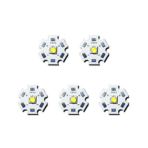 10W CREE XML XML2 Chip LED singolo , diodo emettitore LED con PCB da 20 mm, Bianco freddo 6000K, 5 pezzi