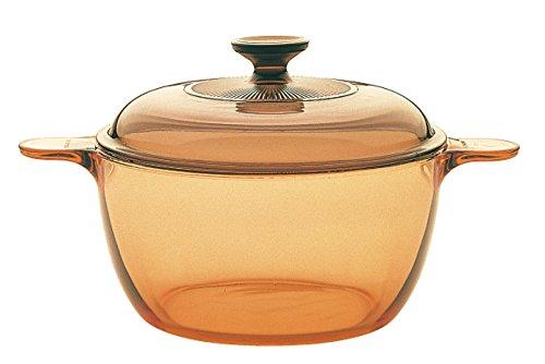 VISIONS - Olla de Vidrio Pyroceram, con Tapa de Vidrio, de 1,5 litros, Color marrón