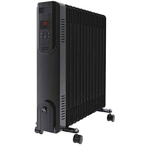 electriQ 2.5kw Black Smart WiFi Alexa Oil Filled Radiator 11 Fin 24 Hour and Weekly Timer with Thermostat and Remote