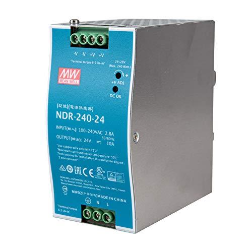 NDR-240-24 LED Netzteil Trafo Hutschienen-Netzteil (DIN-Rail) NDR-240-24 SNT DIN-Schiene 24 V/DC/0-10/ 240W LED Transformator für LED Beleuchtung