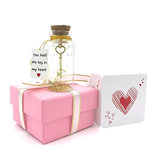 You Hold the Key to My Heart - Romantic I Love You Valentines Day Gifts for Her or Him, Birthday Cute Decorative Bottle Anniversary Jars Gift for Girlfriend and Boyfriend(with Lovely Pink Box)