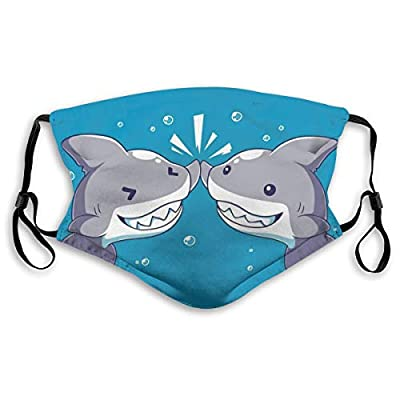 HOTBABYS Kawaii Shark Reusable Activated Carbon Filter Face Covering with Replaceable Filter for Men Women Medium
