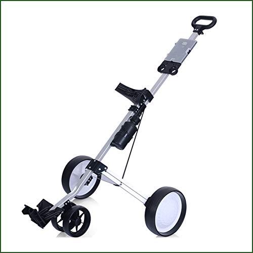 Carrello da golf pieghevole, assemblaggio leggero è un carrello facile da trasportare, con scorecard e carrello push-pull portaborraccia, migliora la mobilità e lo stoccaggio senza sforzo, sostegno