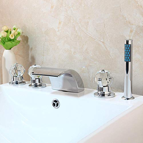 Linyuan Set da 5 pezzi Set rubinetto beccuccio cascata con doccetta Bagno con vasca Rubinetto Doccetta