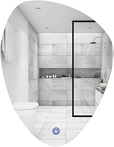 Espejo baño, Triángulo montado en la pared LED Espejo retroiluminado Three Color Light Smart Touch Interruptor de alta definición A prueba de explosiones Espejo de plata 5070 cm ,Espejo de maquillaje