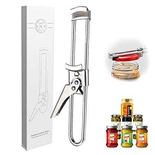 Abridor de tarros ajustable, abrelatas de acero inoxidable,abridor de botellas manual con cristal, para El Hogar Cocina Restaurantes Camping Artritis Personas Mayores 1pcs