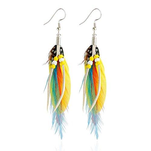 Boucles d'oreilles en plumes colorées de haute qualité crochet Dangle boucles d'oreilles Boho style folk bijoux boucles d'oreilles couleur