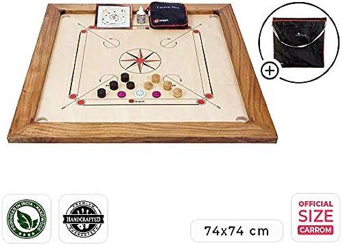 Ubergames Professionelles Carrom Brettspiele 12 kg - Top ECO-Hartholz Qualität - Komplettes Set mit Offiziellen Scheiben und Pulver (Carrom mit Tasche)