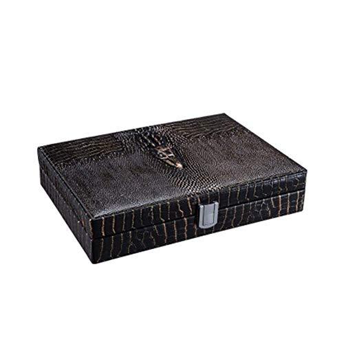 YINGGEXU Humidor de cigarros Caja de cigarros, humidor, Suave Madera de Cedro de Piel de cocodrilo Caja hidratante, humectante Gabinete, Anti-presión (Color: Natural)