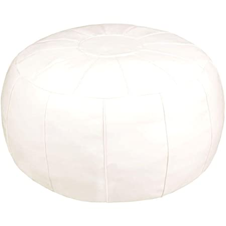 ZEFEN Unstuffed Pouf Foot Stool Round Decorative Leather Ottoman Cushion Storage seat or for Resting Your Feet on , Floor Chair Foot Living Room Bedroom Kids Room and Wedding (White)