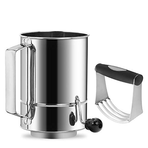 Flour Sifter Stainless Steel 5 Cup Rotary Hand Crank with 16 Fine Mesh Screen Professional Baking Sifter
