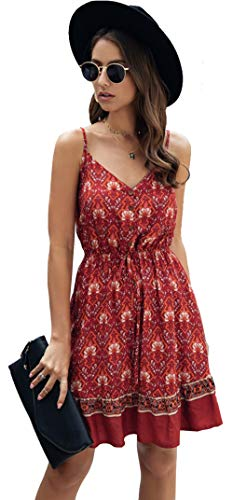 Longwu Mini Vestido de Playa sin Espalda con Cuello en V y Estampado de Flores con Estampado de Flores de Boho para Mujer