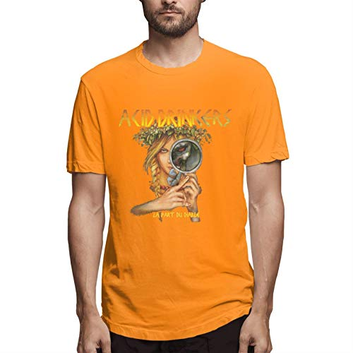 Acid Drinkers Men's Short Sleeve T-Shirt Fashion Printed Casual Short Sleeve Cotton Orange S