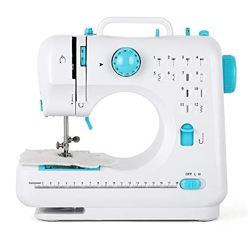 Mini máquina de coser manual electrónica doméstica con 12 programas de costura para principiantes y amantes de la costura, resistente, color azul
