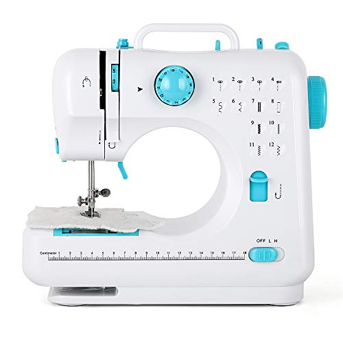 Household Sewing Machine Electric Handheld Small Portable Sewing Machines with Foot Pedal & 12 Built-in Stitches Mini Sewing Machine for Beginners Adults Kids - Blue