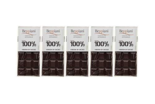Coffret de 5 Tablettes 100% Pure Pâte de Cacao - 450 g, Beppiani – Chocolat Artisanal sans sucre – FABRIQUÉ EN ITALIE (5)