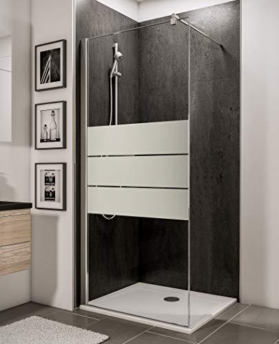 Schulte 4060991019401 Style Paroi de douche fixe à l'italienne, Walk In verre anti-calcaire, profilé aspect chromé, 85x190 cm, Décor dépoli Light