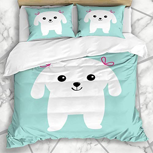 Yoyon Duvet Cover Sets Funny Adoption Scottish Terrier Black Dog Scottie Puppy Adopt Adorable Bichon Bow Breed Canine Design Microfiber Bedding with 2 Pillow Shams
