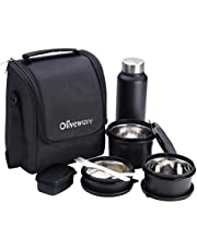 Oliveware Teso Lunch Box with Bottle - Black   3 Stainless Steel Containers and Pickle Box and Assorted Steel Bottle   Insulated Fabric Bag   Leak Proof Microwave Safe   Full Meal and Easy to Carry