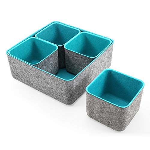 Welaxy Storage bins Set Office Drawer Organizers for School Home Kitchen Closet Cabinet Desk organize boxes Gifts idea set of 5 (Turquoise)
