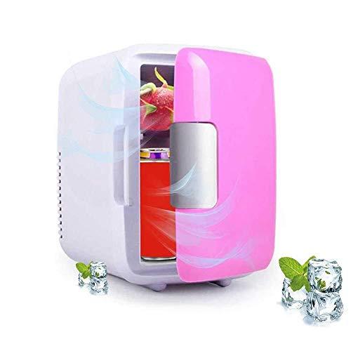 Chef Turk Buena Mini Nevera, 4 litros portátil Mini refrigerador con el Coche de Cable de Carga, Super Tranquilo en el vehículo del congelador for el Coche, Dormitorio, Oficina, Rosa (Color : Pink)